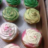 Rose Cupcakes vanilla cupcakes with buttercream icing with differnt colors
