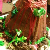 Volcano Cake this was my first volcano cake french vanilla cake in the inside and chocolate buttercream icing and ri for lava and the animals are toys...