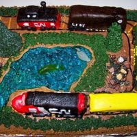 Model Train Cake This was made for a gentleman celebrating the completion of his model railway. My fondant work is a little iffy and it took HOURS to carve...
