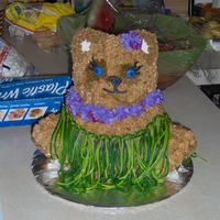 Hula Bear I used the watermelon fruit streamers for the grass.
