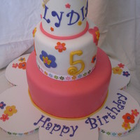 "Lydia's Cake Cake was inspired by and coordinated w/ the invitation. 6/9"" strawberry WASC. Covered w/ MMF. Gumpaste crown."