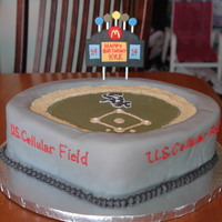 "U.s.cellular Field This is a cake done for my cousin's birthday. He is a huge White Sox fan and wanted a White Sox cake. I used 16"" round cake pans..."
