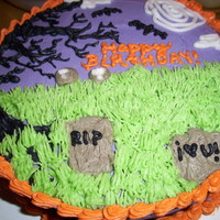 Happy Birthday Halloween Cake I used yellow cake with colored butter cream, it was really yummy! But this is my best cake yet, i love it!