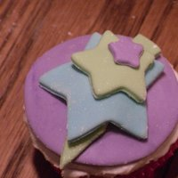 Star Cupcakes   Chocolate cupcakes with fondant accents