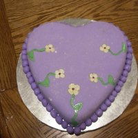 Purple Heart   Chocolate cake with butter cream frosting, covered with fondant