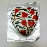 Zebra Cake   Mini heart shaped cake with white fondant, flowers and zebra print draen by hand