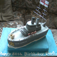 Hms Liverpool navy ship cake for a man who's been in navy before.thanks for all CC's for the inspiration
