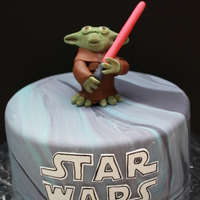 Yoda Ok, I know now that Yoda has the wrong color light-saber. I have all girls so didn't realize it, but this cake was for a good friend...