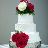 White Wedding With Red Roses