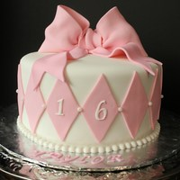 Girly 16 Strawberry cake, will strawberry creme filling, vanilla buttercream, covered in fondant, with gumpaste bow. TFL