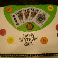 50Th Birthday, Poker Cake spice cake with apple filling, buttercream and fondant accents
