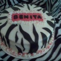 Zebra Striped Birthday Cake Red Velvet Cake with Cream Cheese Buttercream and Black Fondant Zebra Striped Accents
