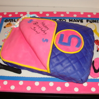 Slumber Party Cake Sleeping bag cake for a 5 yr old slumber party birthday. TFL!