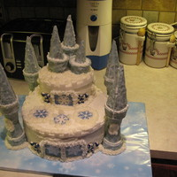 Winter Wonderland Cake pillars are made of ice cream cones dipped in white chocolate, 99.9% edible didnt have time to make frosting snowflakes so these will have...