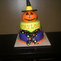Halloween Birthday Cake Cake made for my niece. It was made to match the invitation! :-)