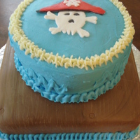 Pirate Birthday Pirate birthday cake. Yellow cake with buttercream and fondant decorations.