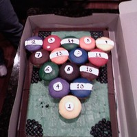 Pool Table Cake This was done for my husband's best friend. It's all buttercream icing. The sides are hershey bars and the pockets are M&M&#...