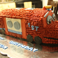 Chuggington White velvet cake with buttercream and MMF.