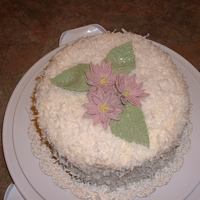 "Gumpaste Poinsettia December Birthday cake for my mom. Based on a ""Surprise Cake"" that she use to make 20 - 30 years ago. White cake with a thick..."