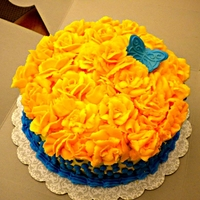 Yellow Roses Birthday Cake My friend Jill's birthday cake. Yellow cake with Sweet Buttery Dough flavoring added with orange flavored (icing fruit added)...