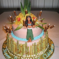 Hawaiian Luau Sweet 16 Hawaiian Luau party. Two tier fondant covered vanilla cake with stawberry buttercream filling (by request). This cake was made in...