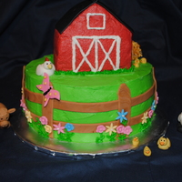 Barnyard Cake This was for a 1st birthday celebration for twin girls who love to play with their barnyard. Such cute animals, made by my husband.