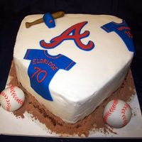 Braves Homeplate Baseball Cake A photo for a 70th birthday celebration. Buttercream with fondant embellishments. SO much fun to make!