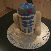 "R2D2 For my great nephew's 6th birthday. Idea from several different similar cake pics on Cake Central. 4 - 6"" rounds and then a half-..."