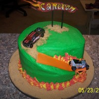 Hot Wheels i use Wilton's checkerboard cake pan set it look like a race flag when the birthday boy cut it. it was so fun. think for looking