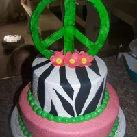Peace   tie dye cake buttercream icing. think 4 all the idles on cc. TFL