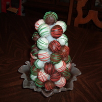 "Cake Ball Tree 46 cake balls on a 9"" styrofoam cone. Thanks to the CC baker who originally posted the idea."