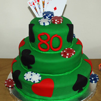 Poker Cake Poker themed birthday cake covered in fondant. Top and bottom tiers are WASC with almond buttercream and the middle tier is Darn Good...