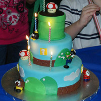 Super Mario Cake This cake was for my son's 9th birthday. The Luigi and Shy Guy are little toys that I swiped from his room, but the rest is made of...