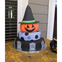 Halloween Cake! This was a halloween/birthday party cake for a friend's little boy's birthday! The bottom 3 tiers were funfetti cake with fudge...