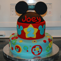 Mickey Mouse Cake I made this cake for my little one's 2nd birthday. It's confetti cake with chocolate fudge icing!