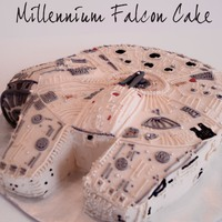 Millennium Falcon Millennium Falcon cake, all buttercream except for fondant gun on top. Step by step How-To on my blog http://.www.doughmesstic.com , search...