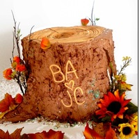 "Tree Trunk Cake Wedding Cake for a couple who hunts together. They wanted a stump, but wanted it to be ""pretty"" - I hope this did it!"