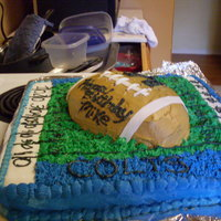 A Colts Football Cake   I did this cake for a friend of my kid.