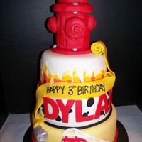 Fire Truck Birthday Fire Hydrant is RKT and all decorations are fondant and gumpaste