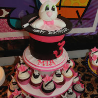 "Magic Hat Hat is a 6"" round with fondant inside is chocolate, vanilla and red velvet cake. Cupcakes have mini rabbits and hats all decorations..."