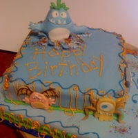 Birthday Monsters   monster cake for a 2 yr old's Bday... fondant covered with fondant monsters...