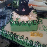 High School Graduation a cake for my niece's HS graduation- scotty bursting out of the top cake- all carved and covered with fondant... his little diploma in...