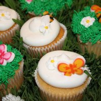 Garden Cupcakes Center Pieces for a baby shower
