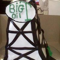 Oil Derrick Cake Made for customer's grandson who was turning 26 and had just started his new company!