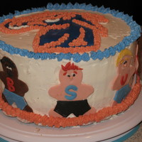 Boise State Broncos Fiesta Bowl Cake! Go Broncos! Buttercream with fondant figures. WASC with dulce de leche filling.