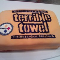 Pittsburgh Steelers Terrible Towel Cake I made this cake for my Dad's birthday. He is a big Steelers fan!. I am 14 years old and I love to decorate cakes. Check out my other...