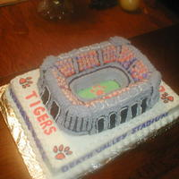 Clemson Tigers Stadium Cake This is a stadium cake pan decorated to be like Clemson. We loved decorating the little people. They were so much fun! This cake is all BC...