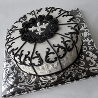 Baroque Style In Black & White Birthday cake for a friend. Baroque style and decorated with marzipan