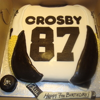 Crosby Jersey  Sidney Crosby jersey cake for a 7 year old hockey fan! His twin brother had the Ovechkin jersey cake. White cake with whipped vanilla...