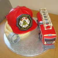 Fire Fighter Combo!  Inspired by Shayesmomma and mom2twogrlz helmet/hose cake - THANK YOU to both of you!!!!! Made this cake for a friend who was just accepted...